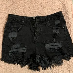 Black high waisted shorts with rips